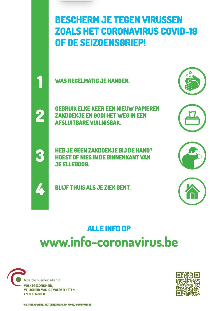 richtlijnen ter preventie van het coronavirus